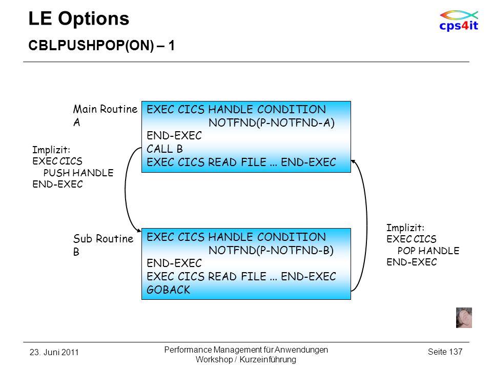 LE Options CBLPUSHPOP(ON) – 1 23. Juni 2011Seite 137 Performance Management für Anwendungen Workshop / Kurzeinführung EXEC CICS HANDLE CONDITION NOTFN