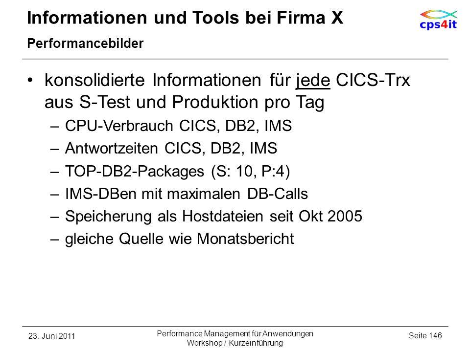 Informationen und Tools bei Firma X Performancebilder konsolidierte Informationen für jede CICS-Trx aus S-Test und Produktion pro Tag –CPU-Verbrauch C