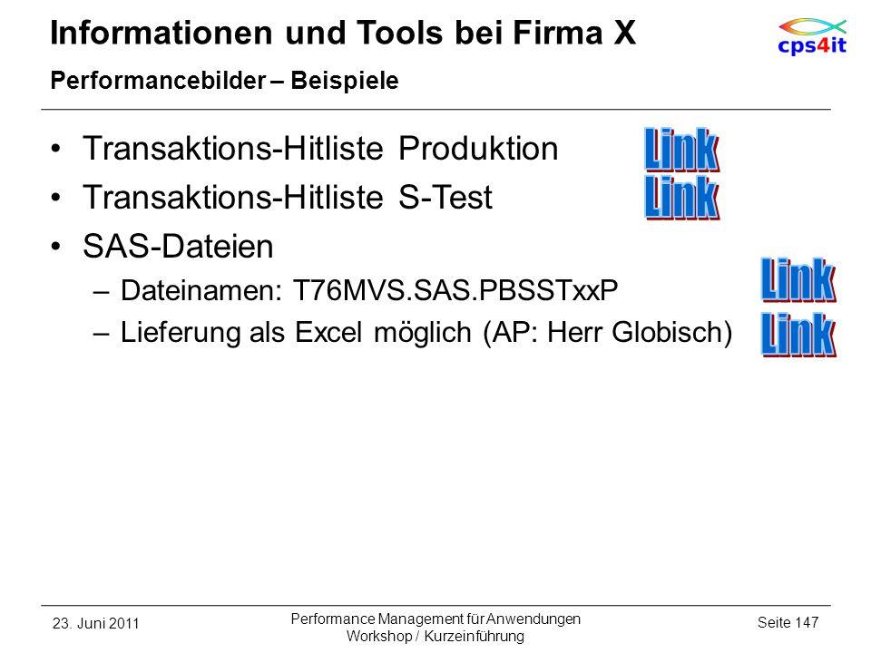 Informationen und Tools bei Firma X Performancebilder – Beispiele Transaktions-Hitliste Produktion Transaktions-Hitliste S-Test SAS-Dateien –Dateiname