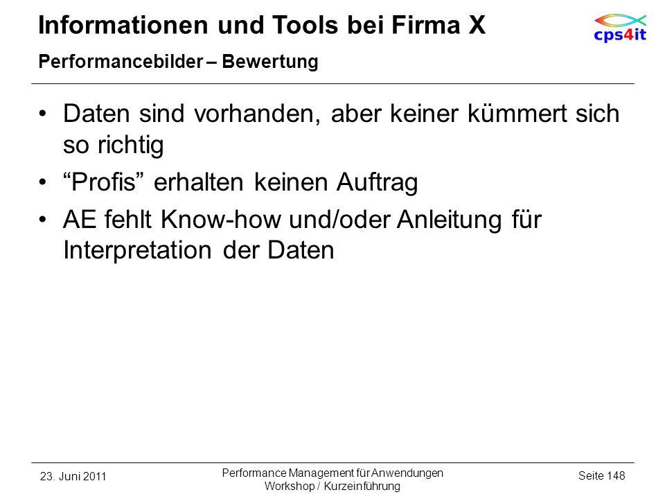 Informationen und Tools bei Firma X Performancebilder – Bewertung Daten sind vorhanden, aber keiner kümmert sich so richtig Profis erhalten keinen Auf