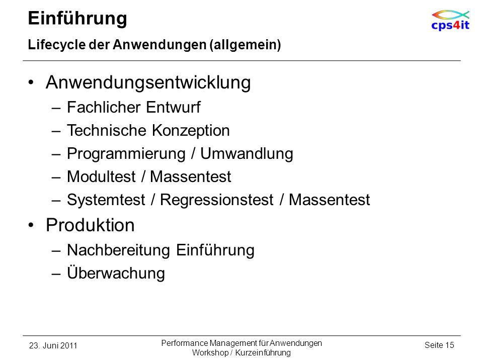 Einführung Lifecycle der Anwendungen (allgemein) Anwendungsentwicklung –Fachlicher Entwurf –Technische Konzeption –Programmierung / Umwandlung –Modult
