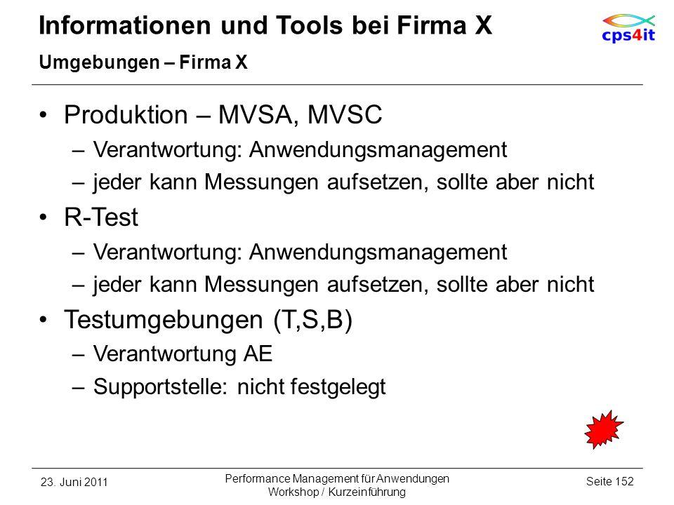 Informationen und Tools bei Firma X Umgebungen – Firma X Produktion – MVSA, MVSC –Verantwortung: Anwendungsmanagement –jeder kann Messungen aufsetzen,