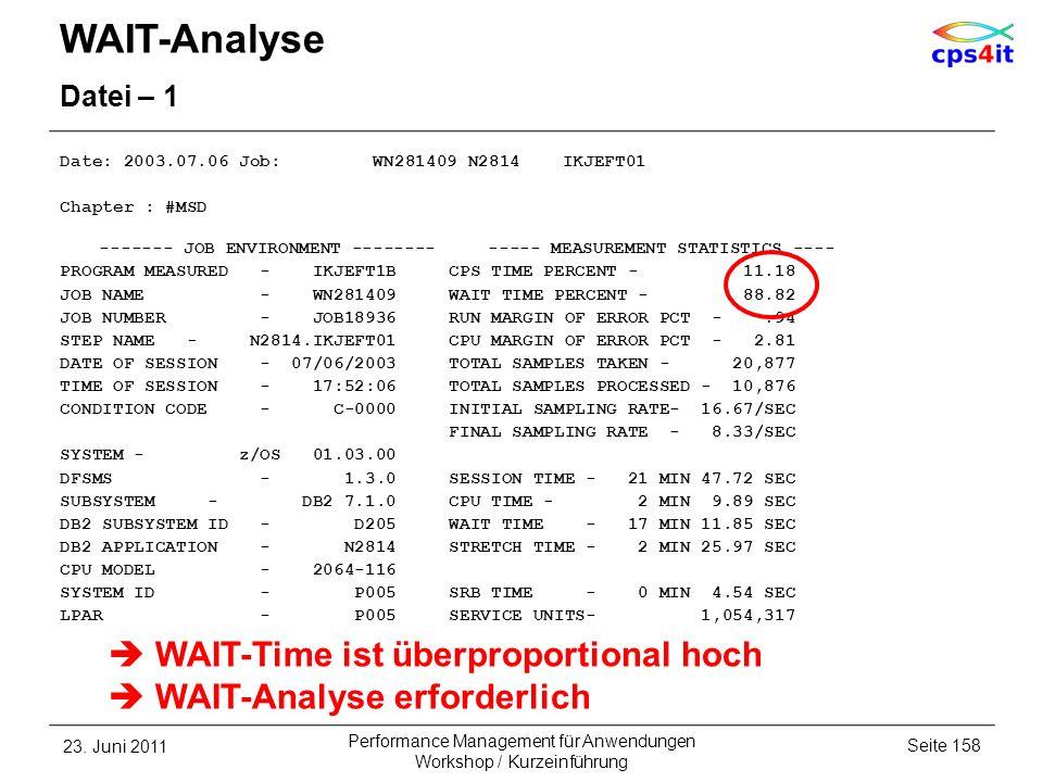 WAIT-Analyse Datei – 1 Date: 2003.07.06 Job: WN281409 N2814 IKJEFT01 Chapter : #MSD ------- JOB ENVIRONMENT -------- ----- MEASUREMENT STATISTICS ----