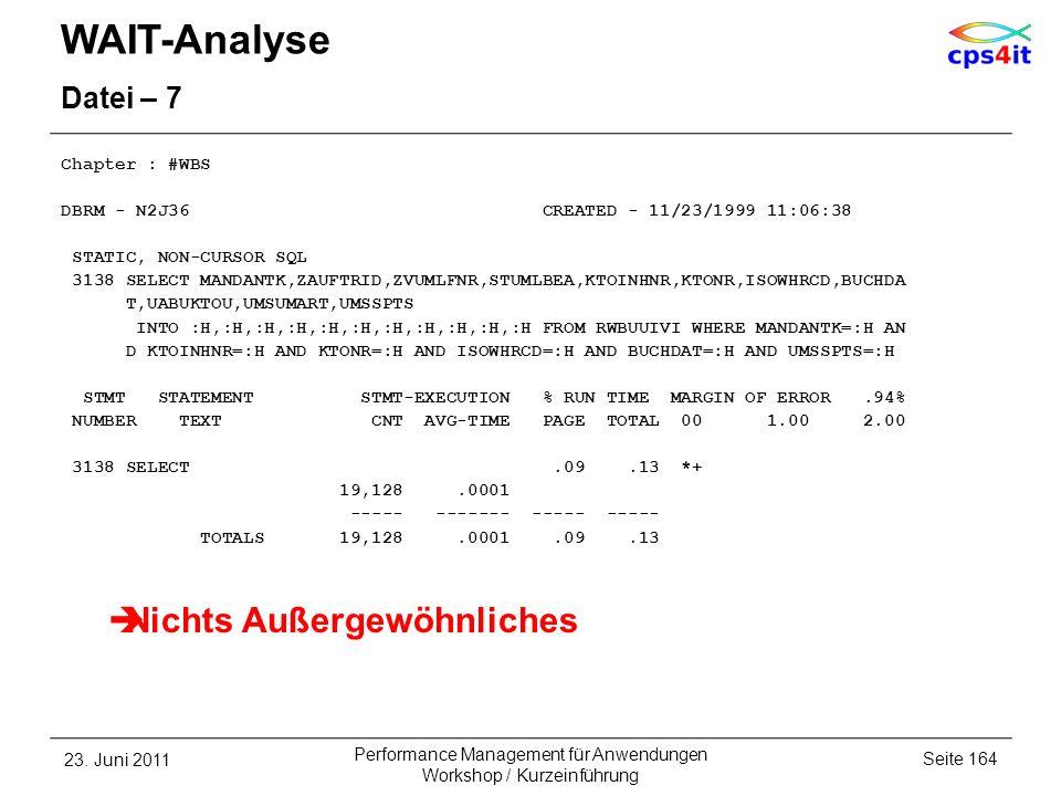 WAIT-Analyse Datei – 7 Chapter : #WBS DBRM - N2J36 CREATED - 11/23/1999 11:06:38 STATIC, NON-CURSOR SQL 3138 SELECT MANDANTK,ZAUFTRID,ZVUMLFNR,STUMLBE