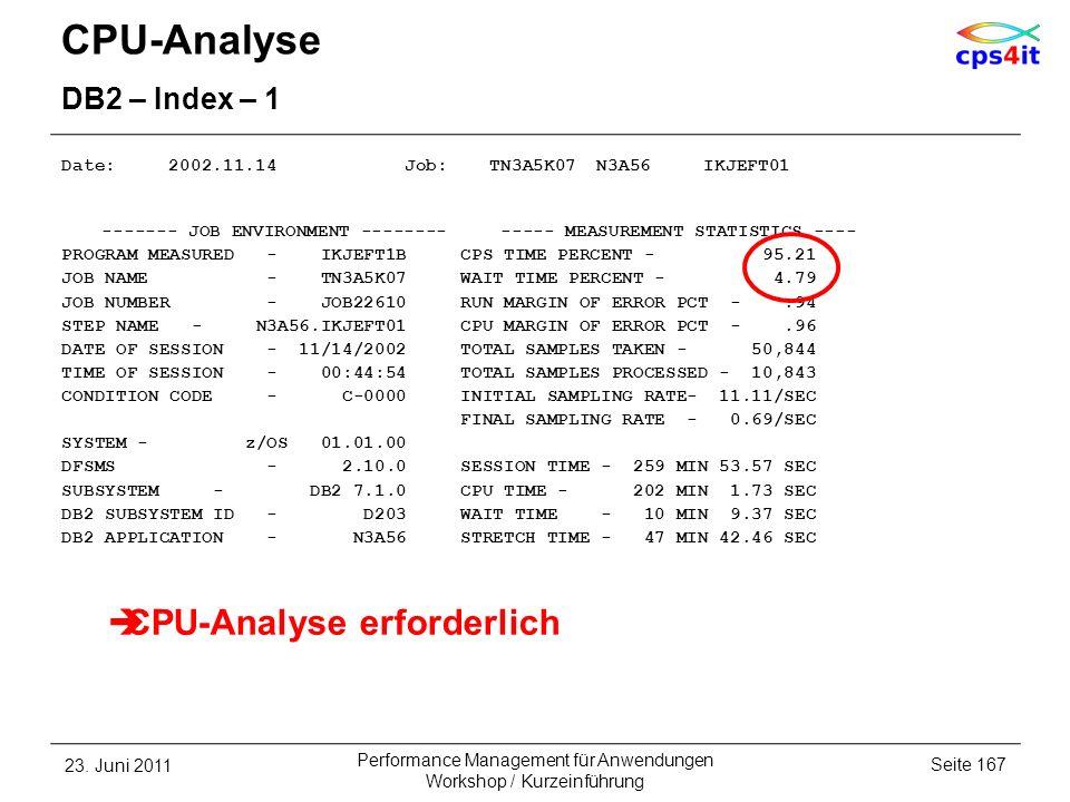 CPU-Analyse DB2 – Index – 1 Date: 2002.11.14 Job: TN3A5K07 N3A56 IKJEFT01 ------- JOB ENVIRONMENT -------- ----- MEASUREMENT STATISTICS ---- PROGRAM M