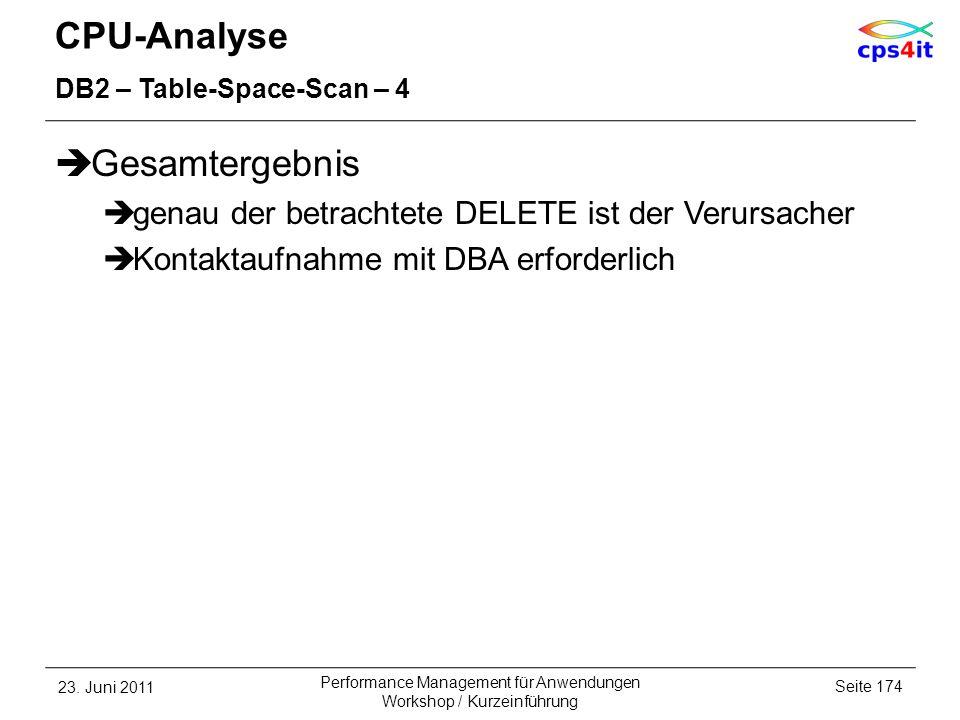 CPU-Analyse DB2 – Table-Space-Scan – 4 Gesamtergebnis genau der betrachtete DELETE ist der Verursacher Kontaktaufnahme mit DBA erforderlich 23. Juni 2