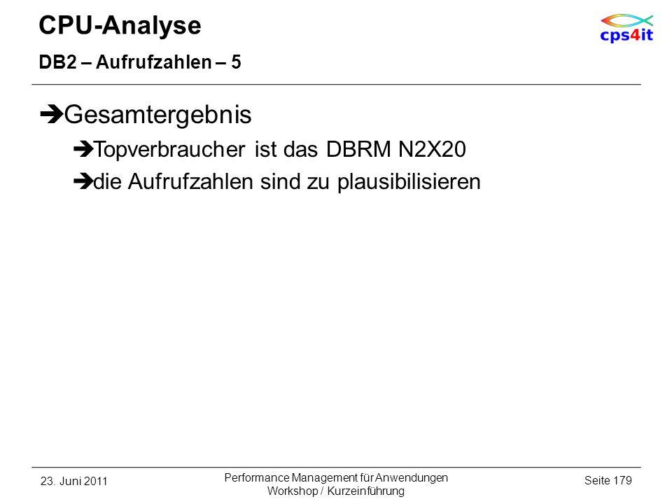 CPU-Analyse DB2 – Aufrufzahlen – 5 Gesamtergebnis Topverbraucher ist das DBRM N2X20 die Aufrufzahlen sind zu plausibilisieren 23. Juni 2011Seite 179 P