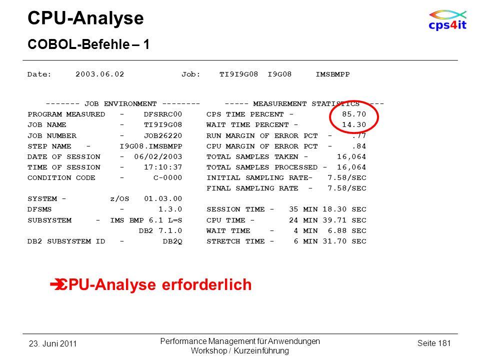 CPU-Analyse COBOL-Befehle – 1 Date: 2003.06.02 Job: TI9I9G08 I9G08 IMSBMPP ------- JOB ENVIRONMENT -------- ----- MEASUREMENT STATISTICS ---- PROGRAM