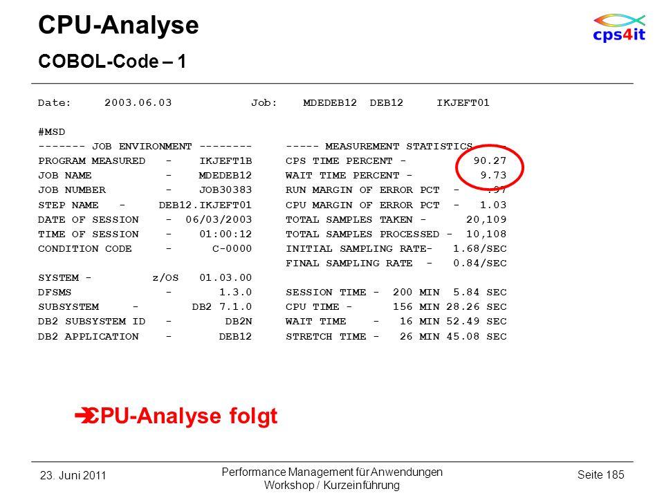 CPU-Analyse COBOL-Code – 1 Date: 2003.06.03 Job: MDEDEB12 DEB12 IKJEFT01 #MSD ------- JOB ENVIRONMENT -------- ----- MEASUREMENT STATISTICS ---- PROGR