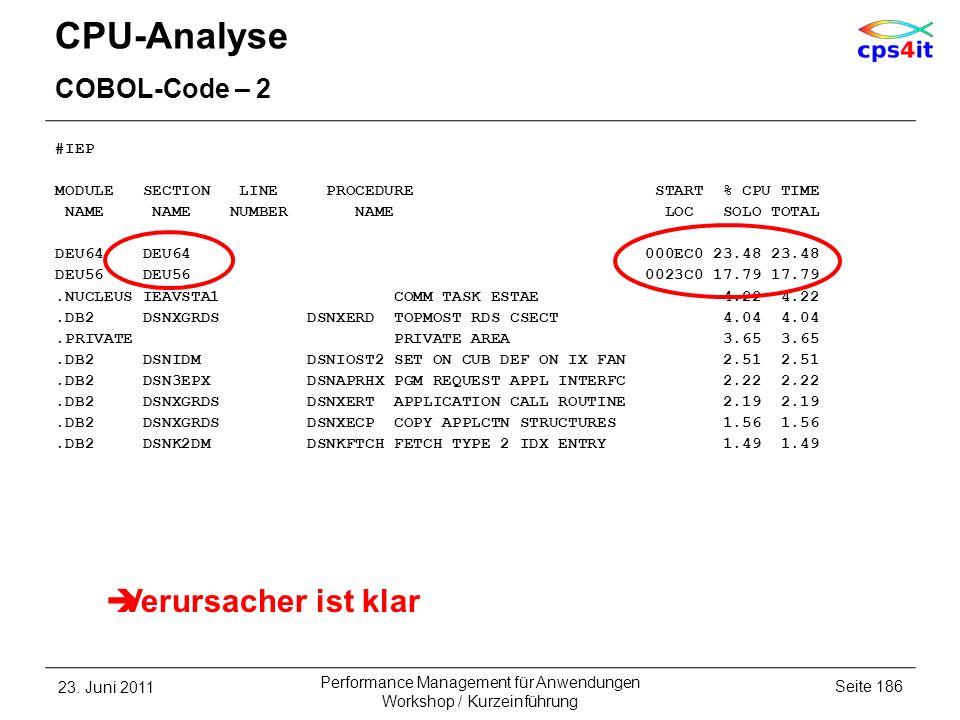 CPU-Analyse COBOL-Code – 2 #IEP MODULE SECTION LINE PROCEDURE START % CPU TIME NAME NAME NUMBER NAME LOC SOLO TOTAL DEU64 DEU64 000EC0 23.48 23.48 DEU