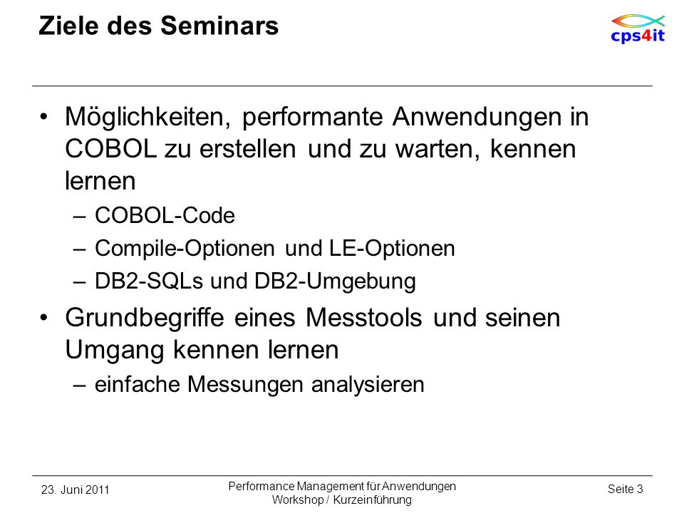 COBOL Compile Options / Code Beispielprogramm – BINARY – SYNC – 2 23.