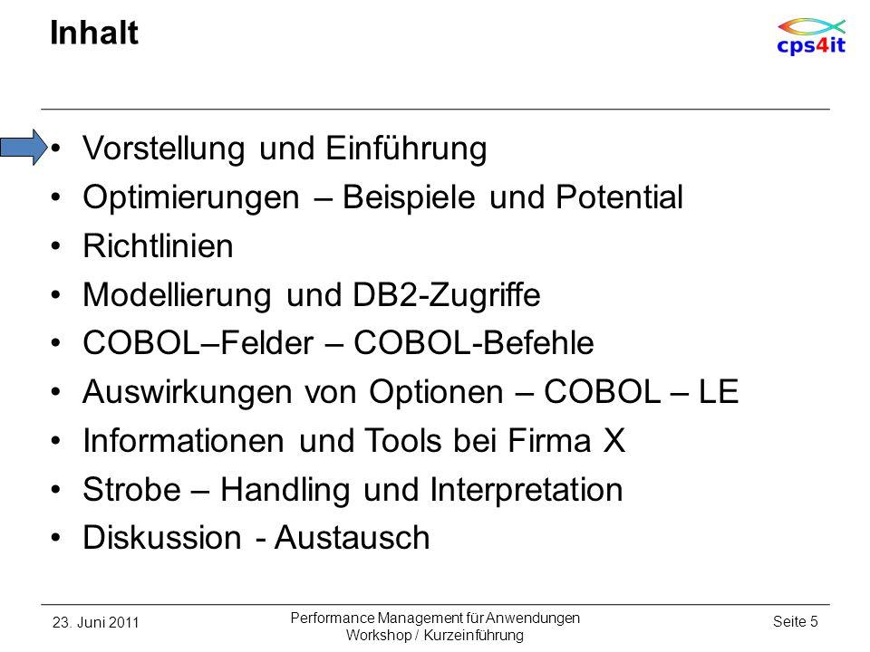 Informationen und Tools bei Firma X Performancebilder konsolidierte Informationen für jede CICS-Trx aus S-Test und Produktion pro Tag –CPU-Verbrauch CICS, DB2, IMS –Antwortzeiten CICS, DB2, IMS –TOP-DB2-Packages (S: 10, P:4) –IMS-DBen mit maximalen DB-Calls –Speicherung als Hostdateien seit Okt 2005 –gleiche Quelle wie Monatsbericht 23.