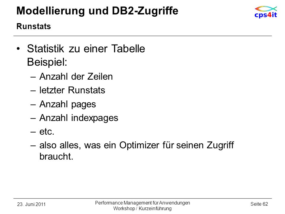 Modellierung und DB2-Zugriffe Runstats Statistik zu einer Tabelle Beispiel: –Anzahl der Zeilen –letzter Runstats –Anzahl pages –Anzahl indexpages –etc