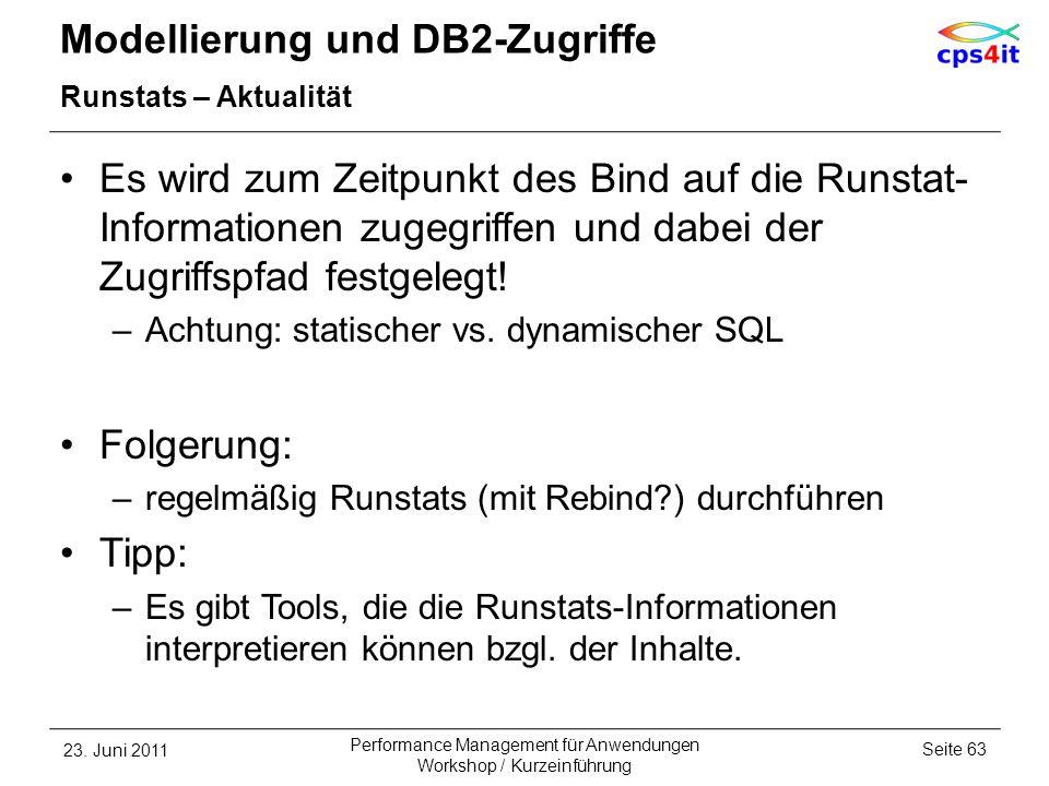 Modellierung und DB2-Zugriffe Runstats – Aktualität Es wird zum Zeitpunkt des Bind auf die Runstat- Informationen zugegriffen und dabei der Zugriffspf