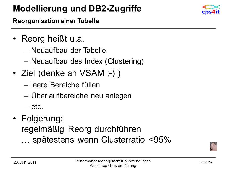 Modellierung und DB2-Zugriffe Reorganisation einer Tabelle Reorg heißt u.a. –Neuaufbau der Tabelle –Neuaufbau des Index (Clustering) Ziel (denke an VS