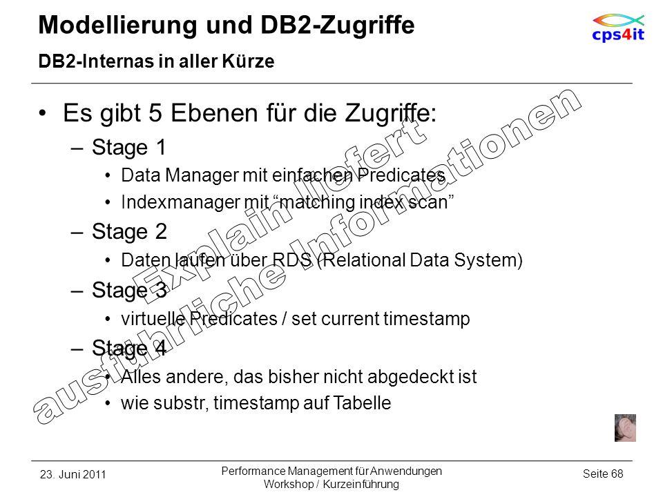 Es gibt 5 Ebenen für die Zugriffe: –Stage 1 Data Manager mit einfachen Predicates Indexmanager mit matching index scan –Stage 2 Daten laufen über RDS