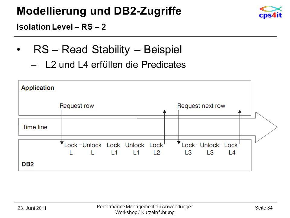 Modellierung und DB2-Zugriffe Isolation Level – RS – 2 RS – Read Stability – Beispiel –L2 und L4 erfüllen die Predicates 23. Juni 2011Seite 84 Perform