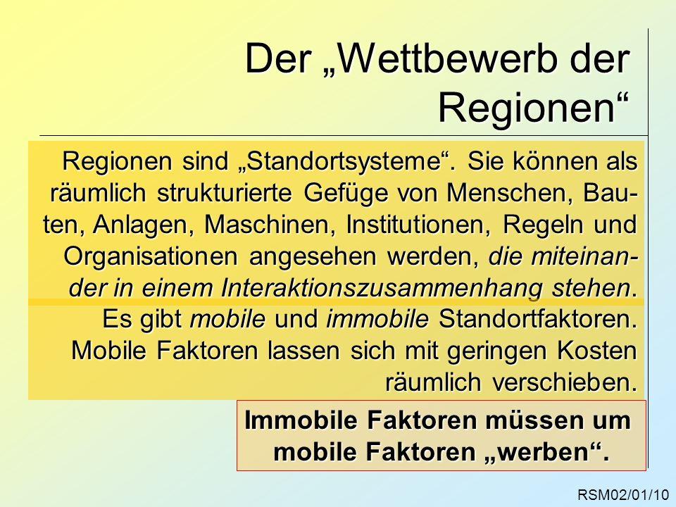 RSM02/01/10 Der Wettbewerb der Regionen Regionen sind Standortsysteme. Sie können als räumlich strukturierte Gefüge von Menschen, Bau- ten, Anlagen, M