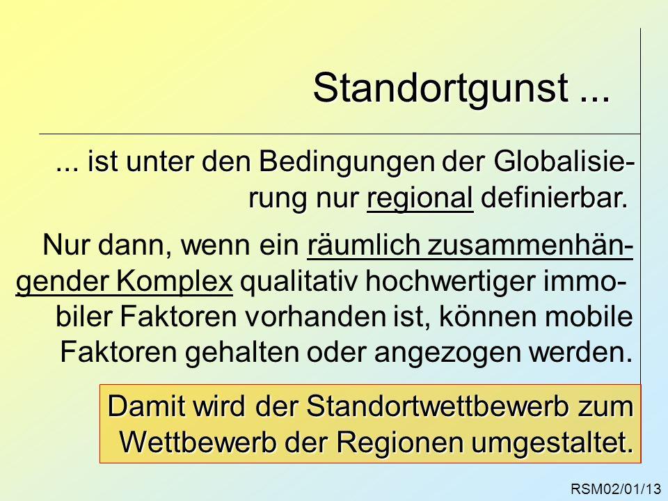 RSM02/01/13 Standortgunst...... ist unter den Bedingungen der Globalisie- rung nur regional definierbar. Nur dann, wenn ein räumlich zusammenhän- gend