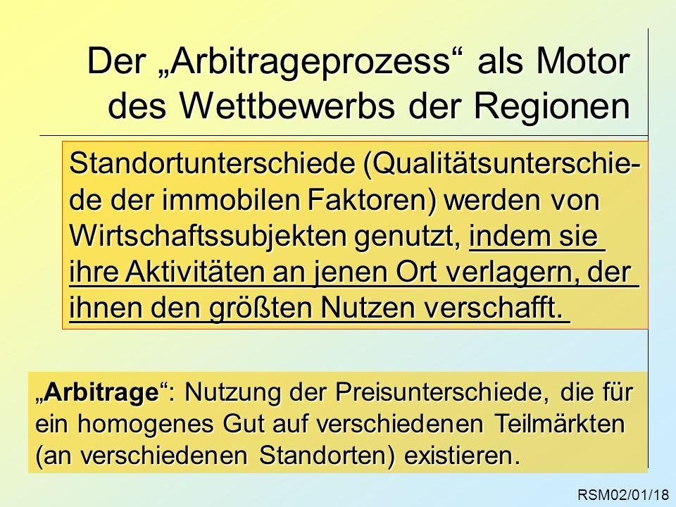 Der Arbitrageprozess als Motor des Wettbewerbs der Regionen RSM02/01/18 Standortunterschiede (Qualitätsunterschie- de der immobilen Faktoren) werden v