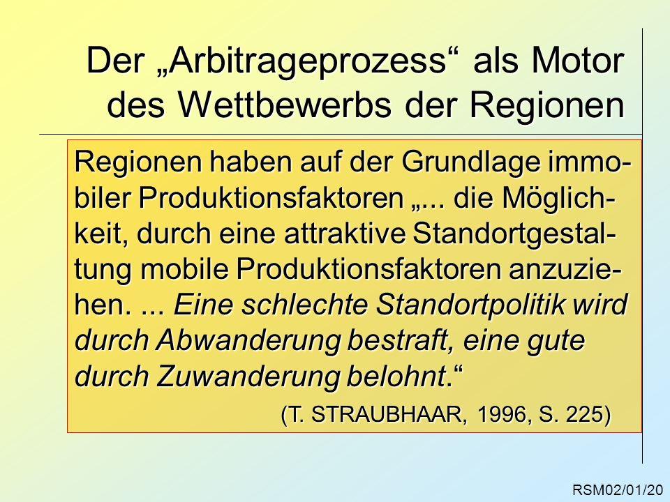 RSM02/01/20 Der Arbitrageprozess als Motor des Wettbewerbs der Regionen Regionen haben auf der Grundlage immo- biler Produktionsfaktoren... die Möglic