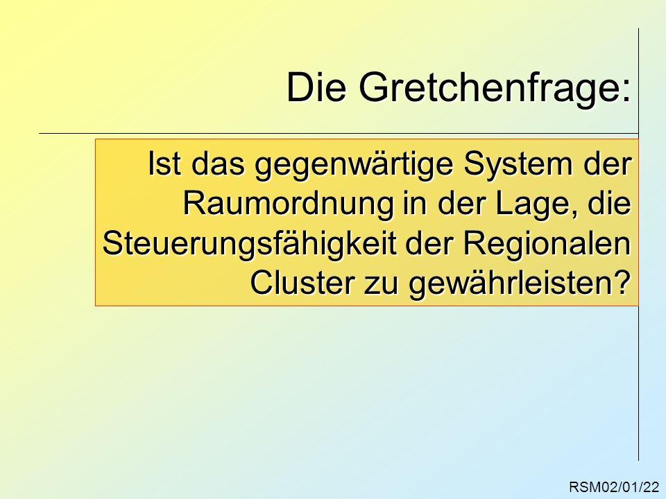 Die Gretchenfrage: RSM02/01/22 Ist das gegenwärtige System der Raumordnung in der Lage, die Steuerungsfähigkeit der Regionalen Cluster zu gewährleiste