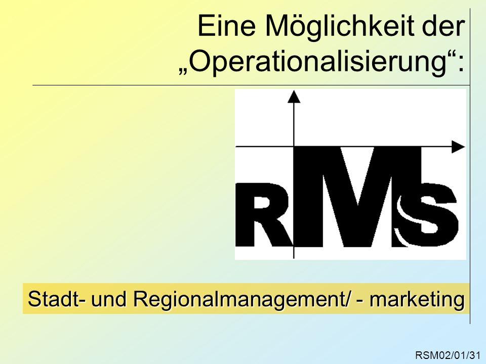 Eine Möglichkeit der Operationalisierung: RSM02/01/31 Stadt- und Regionalmanagement/ - marketing