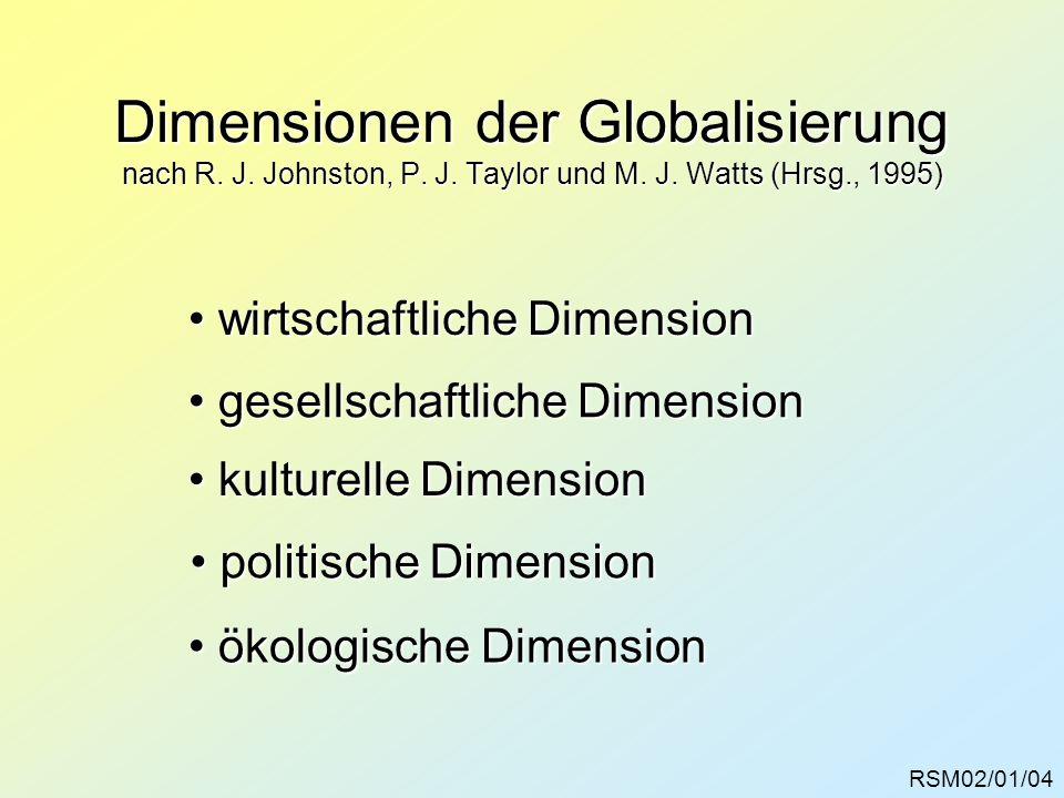 Dimensionen der Globalisierung nach R. J. Johnston, P. J. Taylor und M. J. Watts (Hrsg., 1995) RSM02/01/04 gesellschaftliche Dimension gesellschaftlic