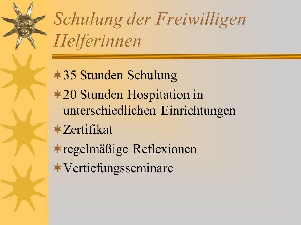 Schulung der Freiwilligen Helferinnen 35 Stunden Schulung 20 Stunden Hospitation in unterschiedlichen Einrichtungen Zertifikat regelmäßige Reflexionen