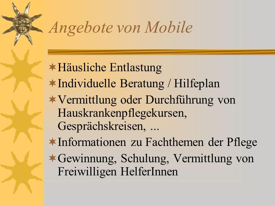 Angebote von Mobile Häusliche Entlastung Individuelle Beratung / Hilfeplan Vermittlung oder Durchführung von Hauskrankenpflegekursen, Gesprächskreisen