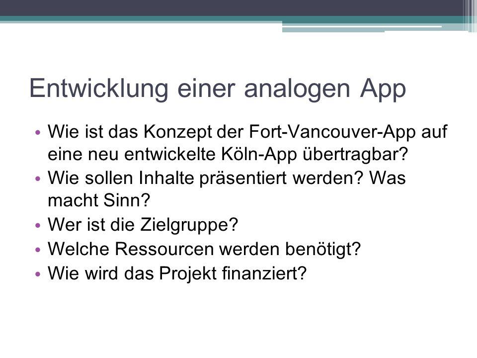 Entwicklung einer analogen App Wie ist das Konzept der Fort-Vancouver-App auf eine neu entwickelte Köln-App übertragbar? Wie sollen Inhalte präsentier