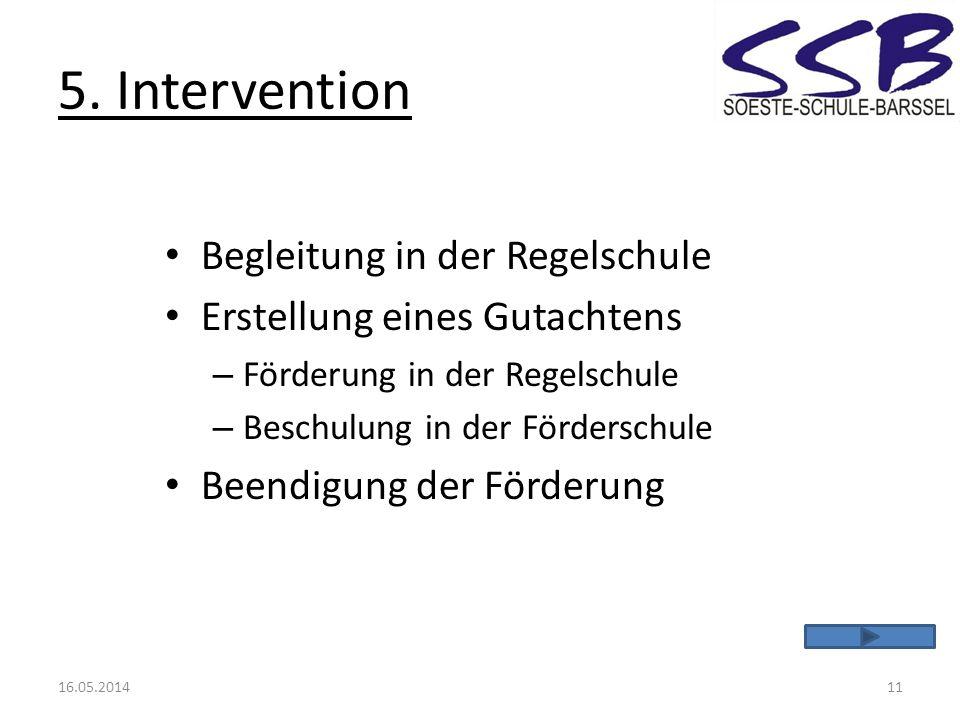5. Intervention Begleitung in der Regelschule Erstellung eines Gutachtens – Förderung in der Regelschule – Beschulung in der Förderschule Beendigung d