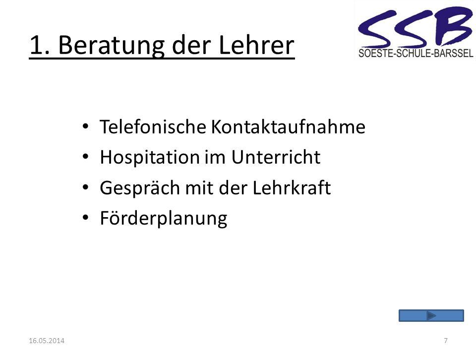 1. Beratung der Lehrer Telefonische Kontaktaufnahme Hospitation im Unterricht Gespräch mit der Lehrkraft Förderplanung 16.05.20147