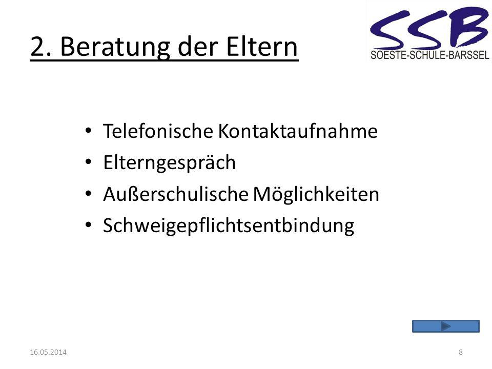 2. Beratung der Eltern Telefonische Kontaktaufnahme Elterngespräch Außerschulische Möglichkeiten Schweigepflichtsentbindung 16.05.20148