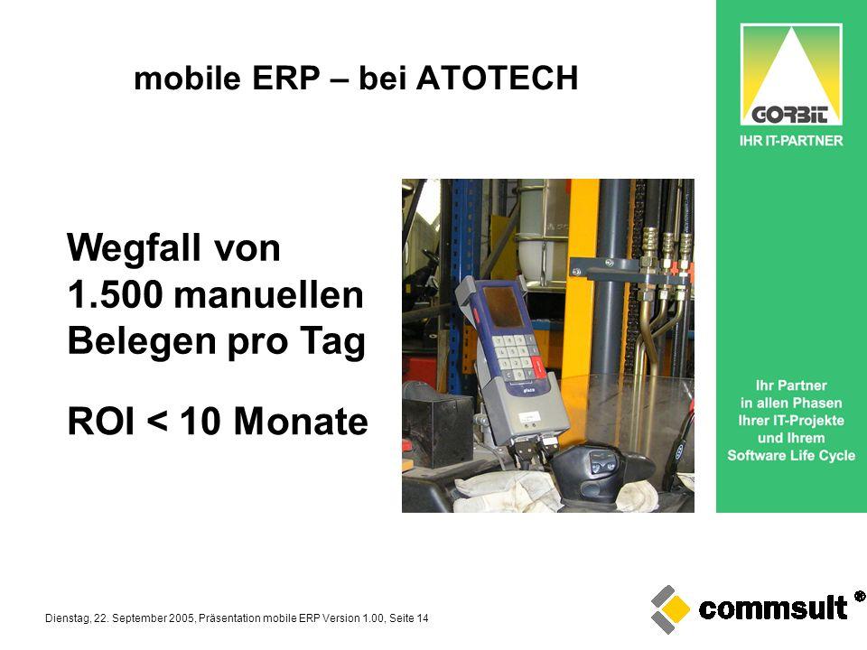 Dienstag, 22. September 2005, Präsentation mobile ERP Version 1.00, Seite 14 mobile ERP – bei ATOTECH Wegfall von 1.500 manuellen Belegen pro Tag ROI