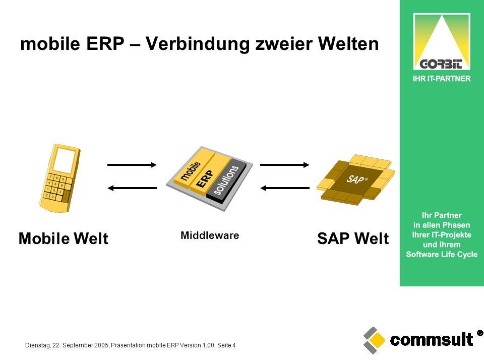 Dienstag, 22. September 2005, Präsentation mobile ERP Version 1.00, Seite 4 mobile ERP – Verbindung zweier Welten Mobile WeltSAP Welt Middleware