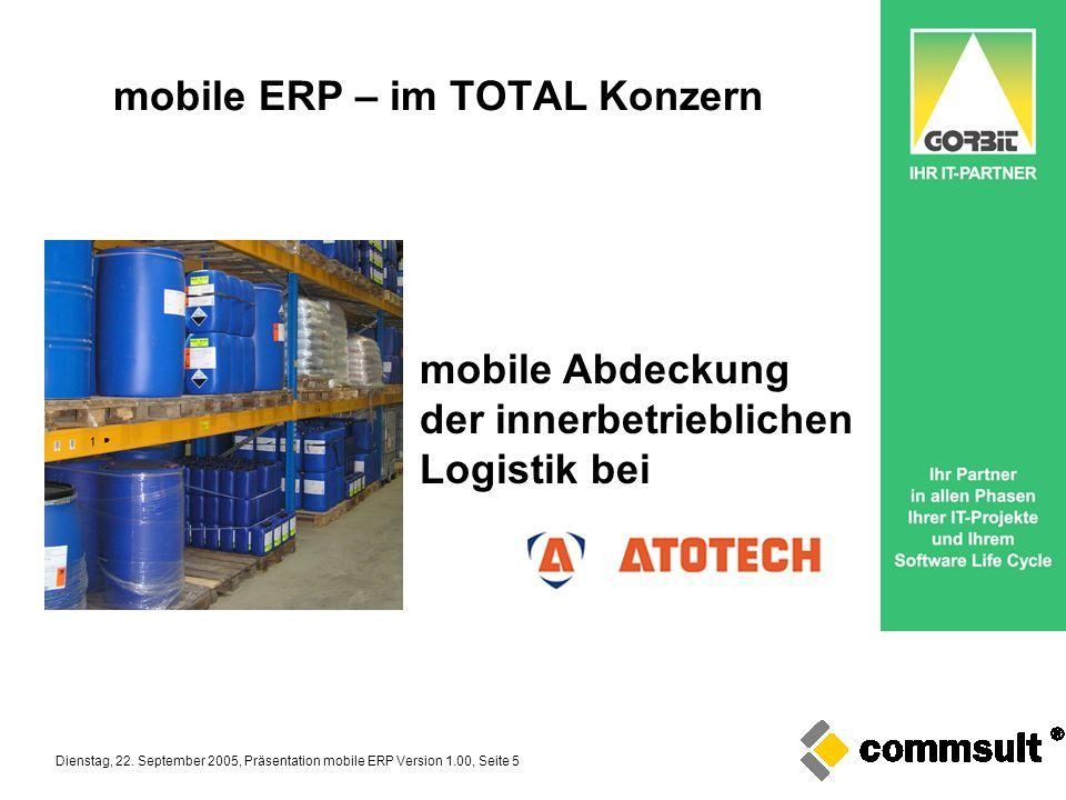 Dienstag, 22. September 2005, Präsentation mobile ERP Version 1.00, Seite 5 mobile ERP – im TOTAL Konzern mobile Abdeckung der innerbetrieblichen Logi
