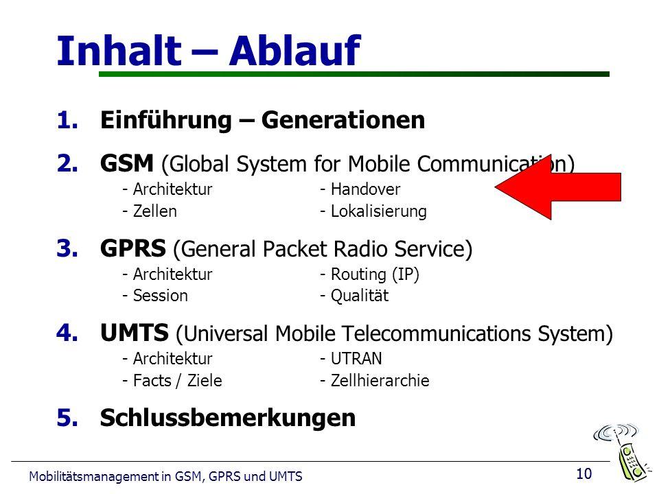 10 Mobilitätsmanagement in GSM, GPRS und UMTS Inhalt – Ablauf 1.Einführung – Generationen 2.GSM (Global System for Mobile Communication) - Architektur- Handover - Zellen - Lokalisierung 3.GPRS (General Packet Radio Service) - Architektur- Routing (IP) - Session - Qualität 4.UMTS (Universal Mobile Telecommunications System) - Architektur - UTRAN - Facts / Ziele - Zellhierarchie 5.Schlussbemerkungen 10