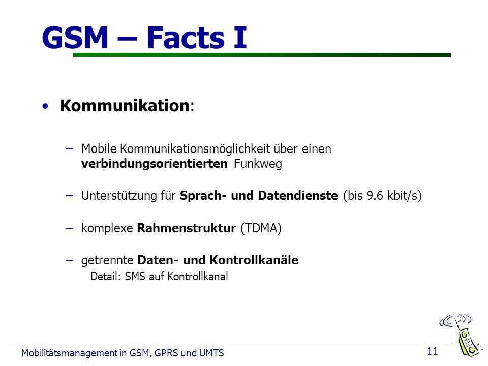 11 Mobilitätsmanagement in GSM, GPRS und UMTS GSM – Facts I Kommunikation: –Mobile Kommunikationsmöglichkeit über einen verbindungsorientierten Funkweg –Unterstützung für Sprach- und Datendienste (bis 9.6 kbit/s) –komplexe Rahmenstruktur (TDMA) –getrennte Daten- und Kontrollkanäle Detail: SMS auf Kontrollkanal