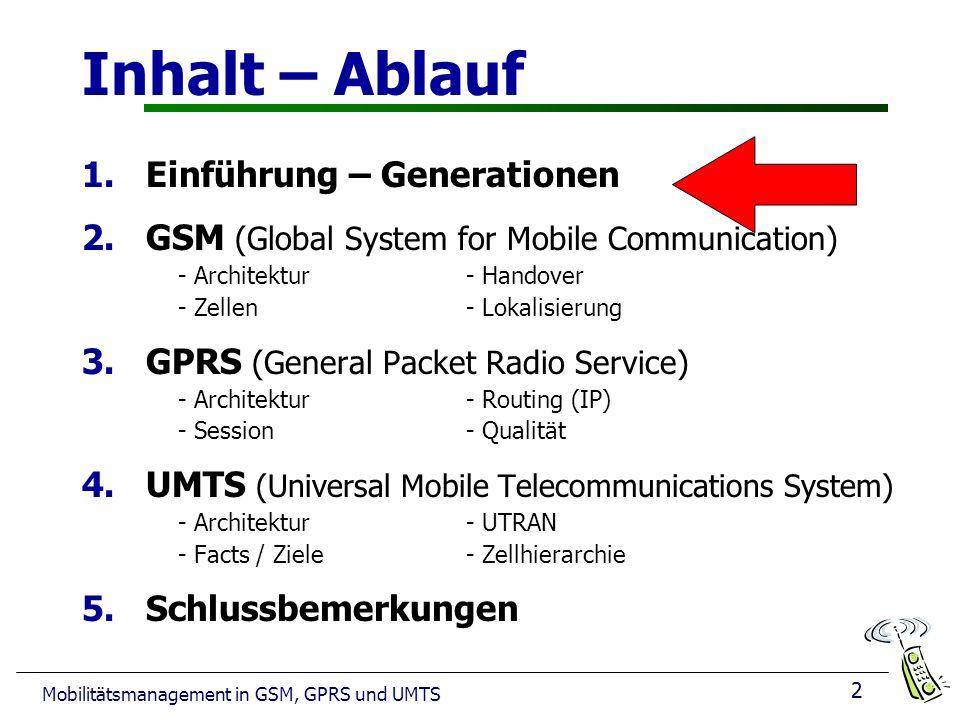 2 Mobilitätsmanagement in GSM, GPRS und UMTS Inhalt – Ablauf 1.Einführung – Generationen 2.GSM (Global System for Mobile Communication) - Architektur- Handover - Zellen - Lokalisierung 3.GPRS (General Packet Radio Service) - Architektur- Routing (IP) - Session - Qualität 4.UMTS (Universal Mobile Telecommunications System) - Architektur - UTRAN - Facts / Ziele - Zellhierarchie 5.Schlussbemerkungen 2