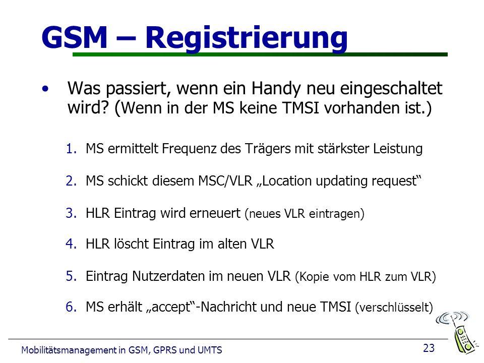 23 Mobilitätsmanagement in GSM, GPRS und UMTS GSM – Registrierung Was passiert, wenn ein Handy neu eingeschaltet wird? ( Wenn in der MS keine TMSI vor