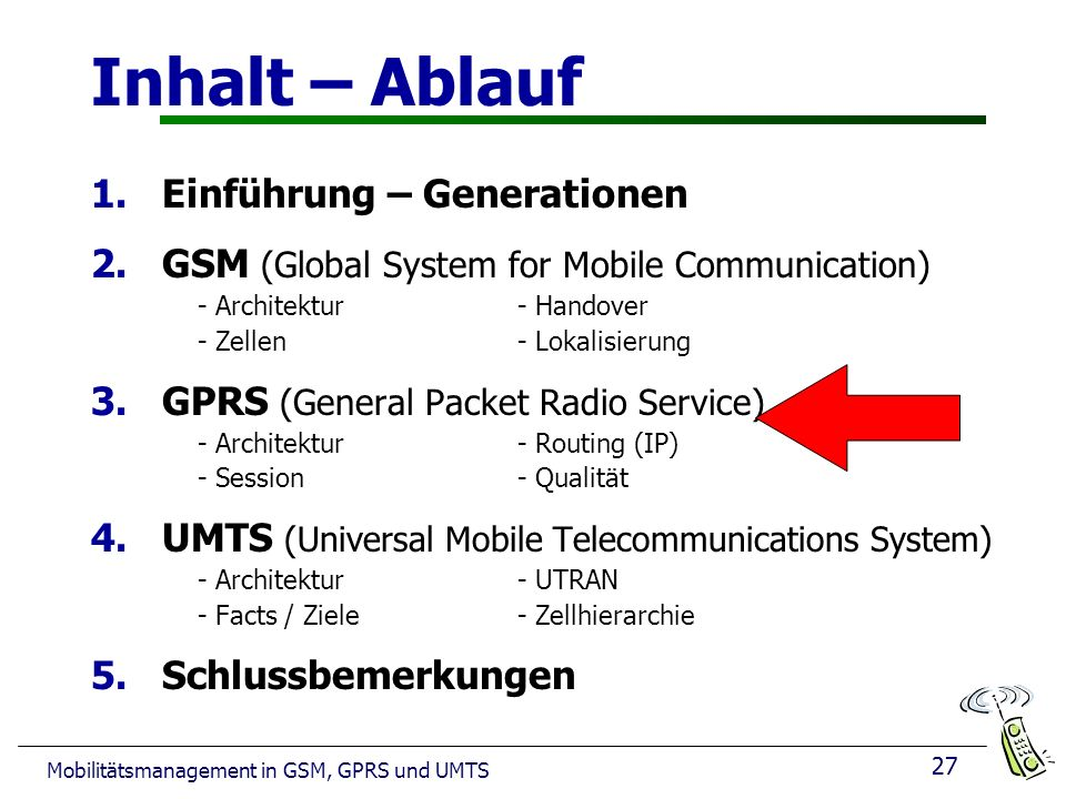 27 Mobilitätsmanagement in GSM, GPRS und UMTS Inhalt – Ablauf 1.Einführung – Generationen 2.GSM (Global System for Mobile Communication) - Architektur- Handover - Zellen - Lokalisierung 3.GPRS (General Packet Radio Service) - Architektur- Routing (IP) - Session - Qualität 4.UMTS (Universal Mobile Telecommunications System) - Architektur - UTRAN - Facts / Ziele - Zellhierarchie 5.Schlussbemerkungen 27