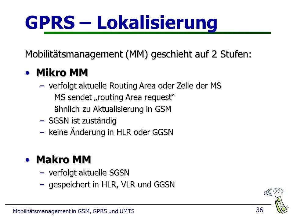 36 Mobilitätsmanagement in GSM, GPRS und UMTS GPRS – Lokalisierung Mobilitätsmanagement (MM) geschieht auf 2 Stufen: Mikro MMMikro MM –verfolgt aktuel