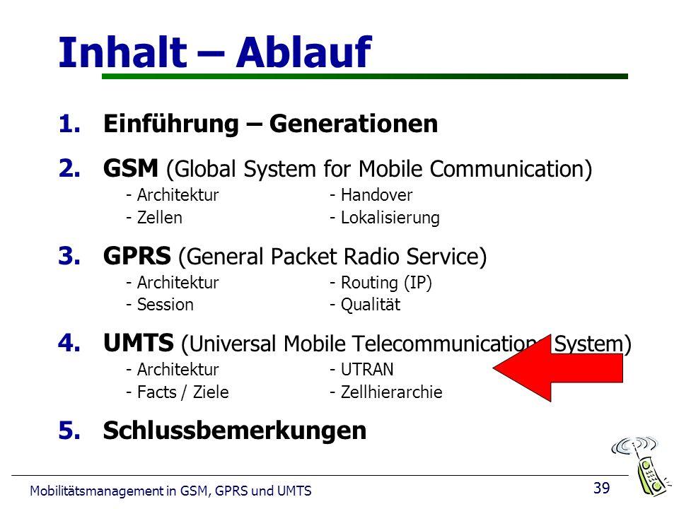 39 Mobilitätsmanagement in GSM, GPRS und UMTS Inhalt – Ablauf 1.Einführung – Generationen 2.GSM (Global System for Mobile Communication) - Architektur- Handover - Zellen - Lokalisierung 3.GPRS (General Packet Radio Service) - Architektur- Routing (IP) - Session - Qualität 4.UMTS (Universal Mobile Telecommunications System) - Architektur - UTRAN - Facts / Ziele - Zellhierarchie 5.Schlussbemerkungen 39