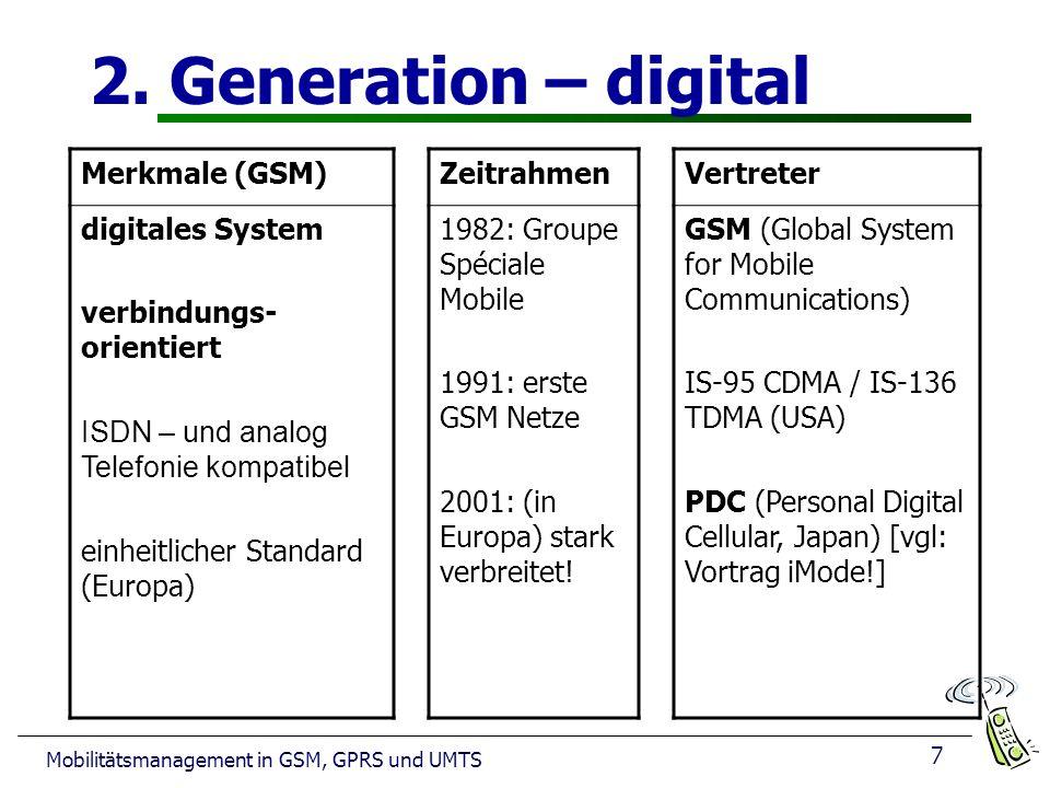 7 Mobilitätsmanagement in GSM, GPRS und UMTS 2. Generation – digital Merkmale (GSM) digitales System verbindungs- orientiert ISDN – und analog Telefon