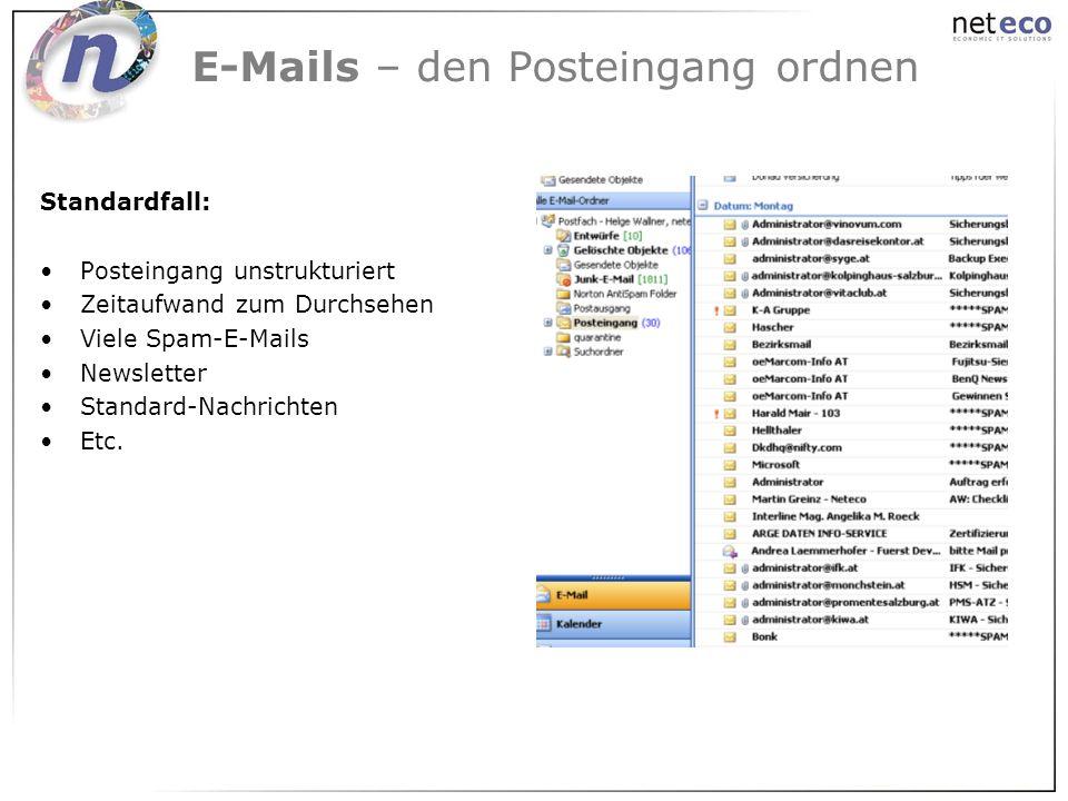 E-Mails – den Posteingang ordnen Standardfall: Posteingang unstrukturiert Zeitaufwand zum Durchsehen Viele Spam-E-Mails Newsletter Standard-Nachrichte