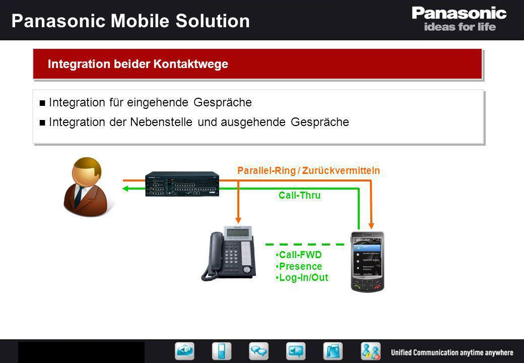 Panasonic Mobile Solution Parallel-Ring / Zurückvermitteln Call-FWD Presence Log-In/Out Call-Thru Integration beider Kontaktwege Integration für einge