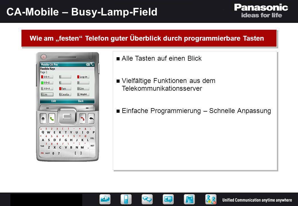 CA-Mobile – Busy-Lamp-Field Alle Tasten auf einen Blick Vielfältige Funktionen aus dem Telekommunikationsserver Einfache Programmierung – Schnelle Anp