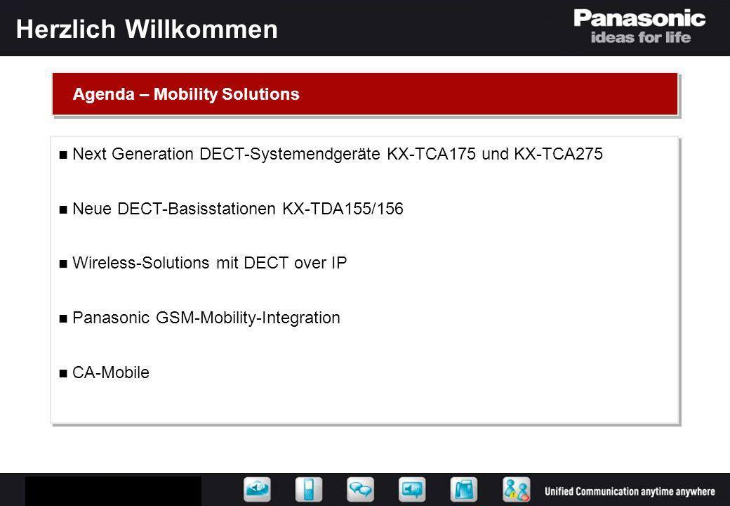 Herzlich Willkommen Next Generation DECT-Systemendgeräte KX-TCA175 und KX-TCA275 Neue DECT-Basisstationen KX-TDA155/156 Wireless-Solutions mit DECT ov