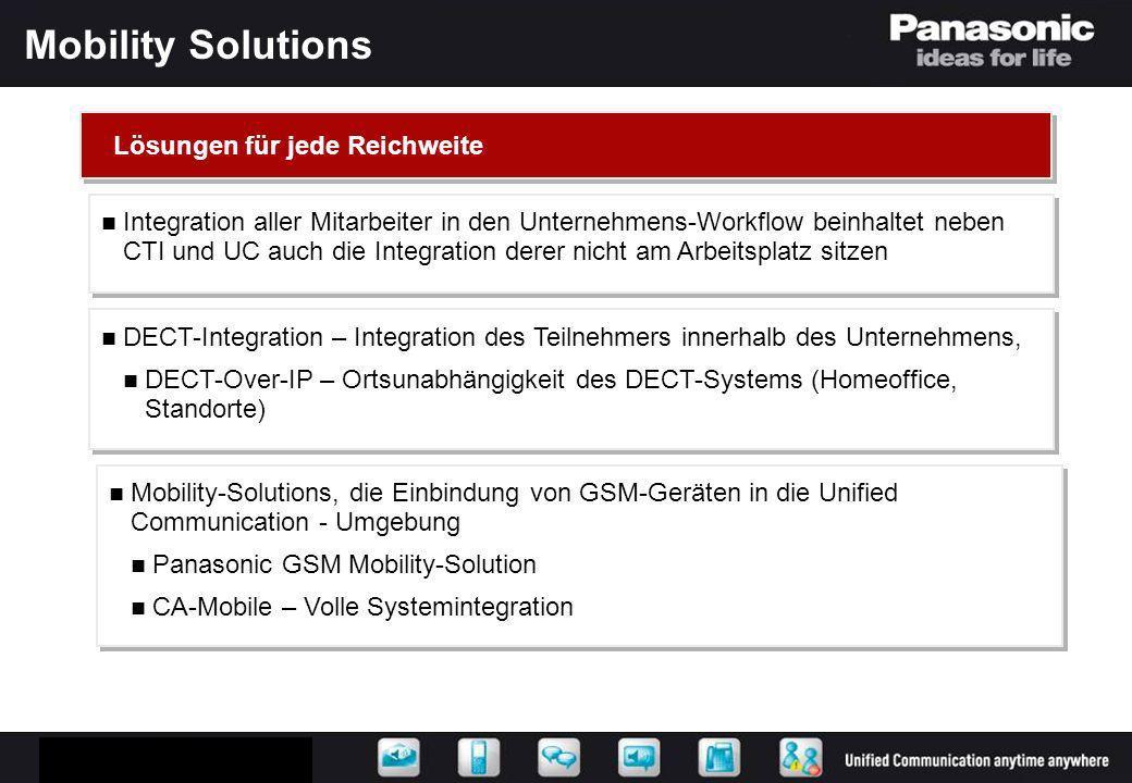 Panasonic Mobile Solution Parallel-Ring / Zurückvermitteln Call-FWD Presence Log-In/Out Call-Thru Integration beider Kontaktwege Integration für eingehende Gespräche Integration der Nebenstelle und ausgehende Gespräche Integration für eingehende Gespräche Integration der Nebenstelle und ausgehende Gespräche
